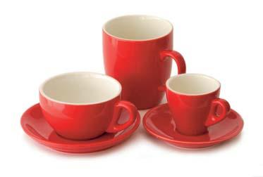 Red Coffee Cups And Saucers The Table