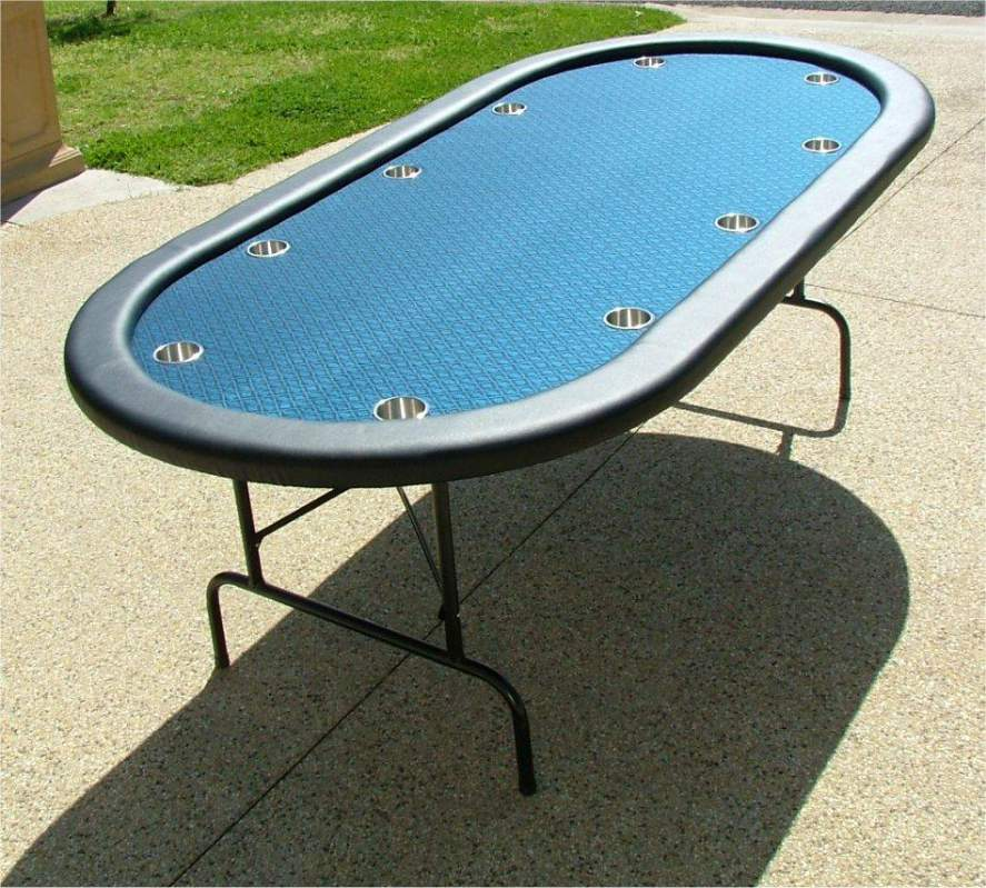 """Buy Premium 84"""" Oval Blue Suited Speed Cloth Poker Table w/ Stainless Steel Cups"""