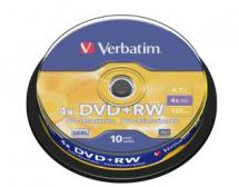 DVD+RW 4.7GB 10Pk Spindle 4x