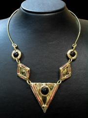 Brass and Copper Necklace with Onyx