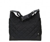 Diamond Quilt Hobo Black with Gunmetal Diaper Bag