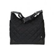 Diamond Quilt Hobo Black with Gunmetal Diaper Bag
