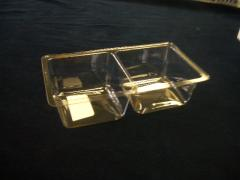 Two compartment clear PVC tray