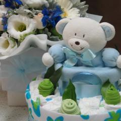 Nappy Cake & Box of Blooms blue