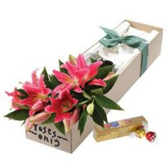 Pink Oriental Lilies Flower Gift Box
