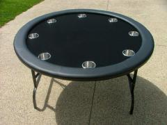 """52"""" Round Black Poker Table w/ Stainless"""