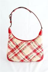 Coach Bag - Plaid and Leather Combination