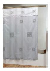 Daisy panel appliqué design shower curtain