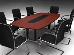 Laminate Boardroom Table with Chairs, DDK Redgum