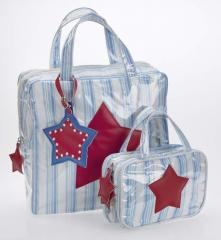 Blue Stripe PVC Coated Toilet Bag