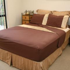 Poly/Cotton sheet set with trim pillowcase design