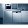 60cm semi integrated dishwasher with stainless steel control panel.