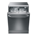 60cm dishwasher with full fingerprint stainless steel door and front handle.